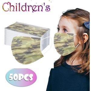 Mundschutz 3-lagig für Kinder 50 Stück, Camouflage