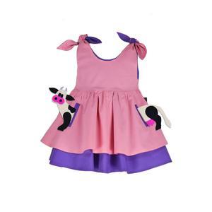 TASCHEN SET - Kleid inkl. Kuh Tier-Applikation – Rosa