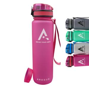 AROGUN Trinkflasche 1L mit Fruchtsieb, Wasserflasche mit Zeitmarkierung, Rosa, AUSLAUFSICHER und BPA FREI, geeignet für Fahrrad, perfekt für Sport, Schule, Fitness, Outdoor - Uhrzeit und Motivation