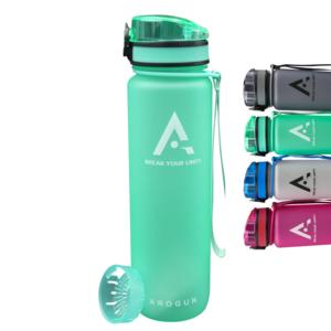 AROGUN Trinkflasche 1L mit Fruchtsieb, Wasserflasche mit Zeitmarkierung, Türkis, AUSLAUFSICHER und BPA FREI, geeignet für Fahrrad, perfekt für Sport, Schule, Fitness, Outdoor - Uhrzeit und Motivation