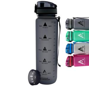 AROGUN Trinkflasche 1L mit Fruchtsieb, Wasserflasche mit Zeitmarkierung, Grau, AUSLAUFSICHER und BPA FREI, geeignet für Fahrrad, perfekt für Sport, Schule, Fitness, Outdoor - Uhrzeit und Motivation