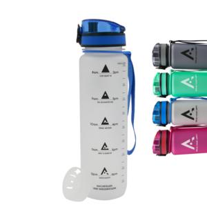 AROGUN Trinkflasche 1L mit Fruchtsieb, Wasserflasche mit Zeitmarkierung, Transparent, AUSLAUFSICHER und BPA FREI, geeignet für Fahrrad, perfekt für Sport, Schule, Fitness, Outdoor - Uhrzeit und Motivation