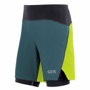 R7 2in1 Shorts - dark nordic/citrus green