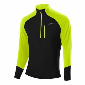 Zip-Sweater Anton Stretchfleece Light - black/lime