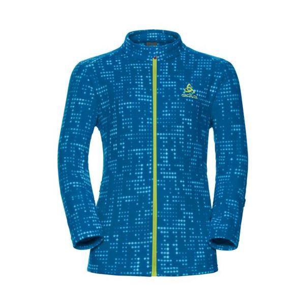 Schladming Kids Full Zip Midlayer Jacket Junior - mykonos blue AOP