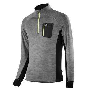 Zip-Sweater Jan Transtex® Merino - grey melange/lime