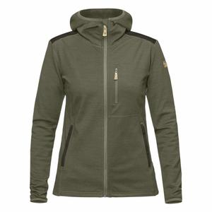 Keb Fleece Hoodie Women - laurel green/deep forest