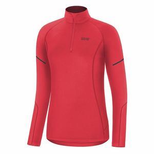 Women Mid Long Sleeve Zip Shirt - hibiscus pink