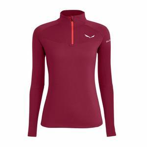 Sennes Dry'Ton Long Sleeved Half-Zip Women Shirt - rhodo red
