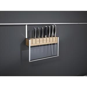 Messerhalter mit Handschutz aus ESG, für 8 Messer, alufarbig/Buche massiv