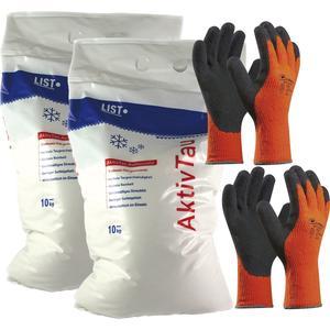 Winter-Set Streusalz 20 kg + 2 Paar Winter-Handschuhe Gr. 9 (L) + Haube
