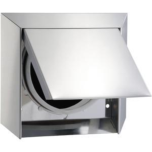Rundrohr Mauerkasten mit Außenklappe selbstschließend Edelstahl, System 150