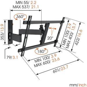 "Vogel's LED LCD/Plasma-Wandhalter WALL 3345, 180°, 40-65"", 30 kg, schwarz"