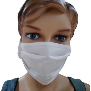 Mund-Nasen-Maske aus Baumwolle mit Stoffband, weiß