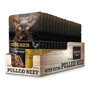 Katzen-Nassfutter - LEONARDO® Chicken & extra pulled Beef 16 x 70g - Pack