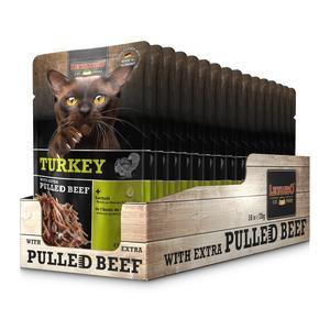 Katzen-Nassfutter - LEONARDO® Turkey & extra pulled Beef 16 x 70g - Pack