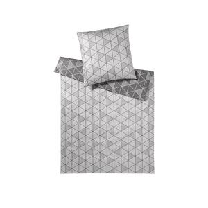 ELEGANTE Damast-Bettwäsche-Garnitur Triangel 70x90cm/140x200cm (grau)