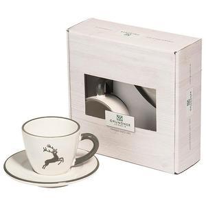 GMUNDNER KERAMIK Tasse und Untertasse - Espresso for you Gourmet - 2-tlg. (Grauer Hirsch)