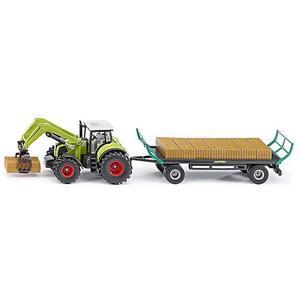 SIKU Claas Traktor mit Ballengreifer und Anhänger