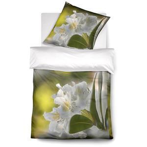 FLEURESSE Satin-Bettwäsche Bed Art 70x90cm/140x200cm (grün/blüte)