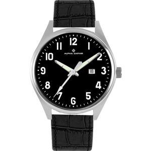 Herren Armbanduhr Alpha Saphir 376 schwarz