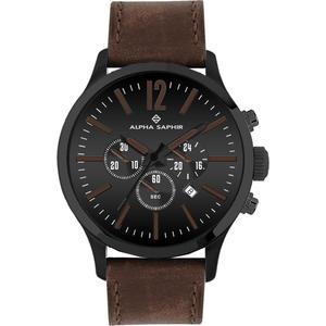 Herren Armbanduhr Alpha Saphir 382 schwarz/braun