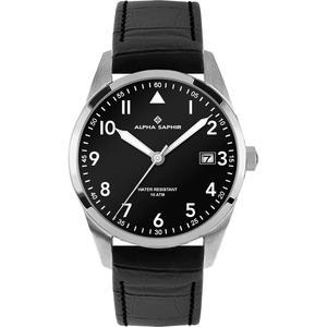 Herren Armbanduhr Alpha Saphir 385 schwarz