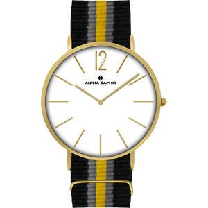 Unisex Armbanduhr Alpha Saphir 383 silber/weiss/gold