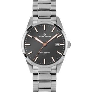 Herren Armbanduhr Alpha Saphir 385 grau