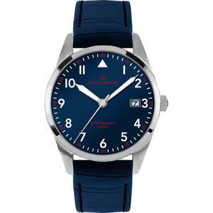 Herren Armbanduhr Alpha Saphir 385 d. blau
