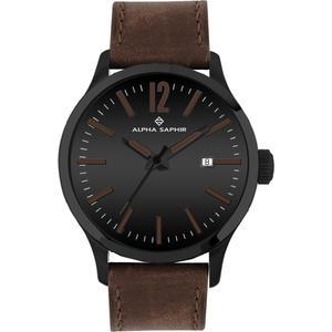 Herren Armbanduhr Alpha Saphir 381 schwarz/braun