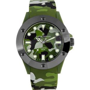Herren Armbanduhr Alpha Saphir 368 d.grün/h.grün/Beige