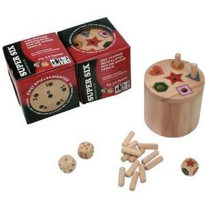 BestSaller 3020 - Super Six Holz, große Version, beidseitig bespielbar - auch für Kinder, 36 Spielstäbchen mit 3 Würfel