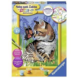 Katze mit Schmetterling. Malen nach Zahlen Serie D