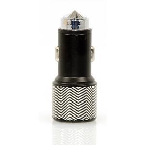 Kfz-Ladegerät mit 2 USB Anschlüssen und Notfallhammerfunktion für Smartphones von Samsung und iPhone, Farbe: schwarz?