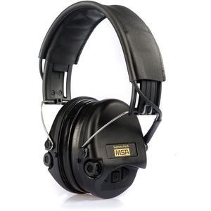 MSA Sordin Supreme Pro X Gehörschutz, Gelkissen, AUX-Eingang, schwarzes Lederkopfband, schwarze Cups