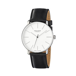 Herren- und Damen-Armbanduhr Analog Quarz Leder Unisex, Modell: Frankfurt