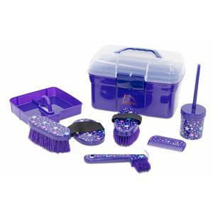 Pferde Putzbox MONDA STARS Putzkasten Putzkoffer gefüllt für Kinder 6 teilig in lila