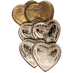 Gürtelschnalle 2 Herzen mit Schmetterling schwarz