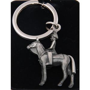 Schlüsselanhänger Soldat mit Pferd silber/antikfarben Schlüsselband Reitsport Schlüsselring