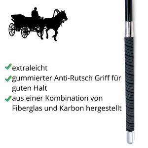 3Horses Fahrpeitsche - Bogenpeitsche extra leicht aus Karbon - gummierter Handgriff 180 cm