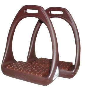 Compositi Kunststoffsteigbügel Reflex mit flexibler breiter Trittfläche braun/braun Compositi Reflex Stirrup Irons Adults 4.75, Shock Absorbing