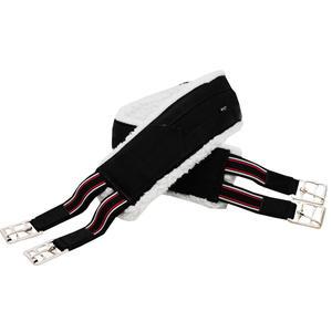 AMKA Sattelgurt Langgurt mit Kunstfell, Elast und Rollschnallen, schwarz