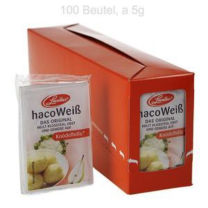 """Haco Weiß, Kartoffel, Früchte & Gemüse Bleichmittel - """"Knödelhilfe"""", 500g, 100 x 5g SCHACHTEL"""