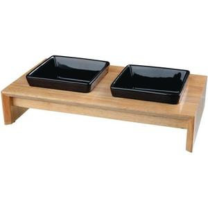 Napf-Set, Keramik/Holz 2x0,4 l, 36x19x7cm, Näpfe: schwarz