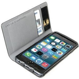 Leggero - Elegantes Kunstleder Folio mit Kreditkartenfächer und Magnetverschluss für iPhone 6/6S Plus (5.5) - Schwarz