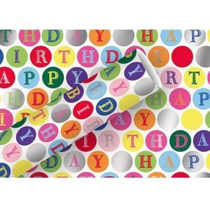 B+C Geschenkpapier 1.5 m x 70 cm Happy Birthday, Kreise
