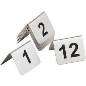 Tischnummerschilder 49-60 Grösse 5.3x4.5cm, Edelstahl