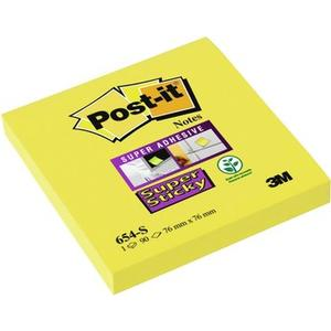 Post-it Super Sticky Notes, gelb, 1 Block à 90 Blatt, 76x76mm