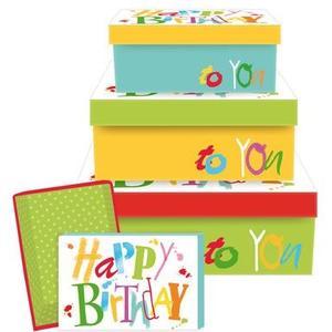 B+C Geschenkbox mit Deckel 4er Satz Colour Birthday